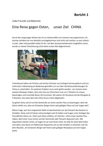 Bericht 1 Eine Reise gegen Osten, unser Ziel CHINA - oriole