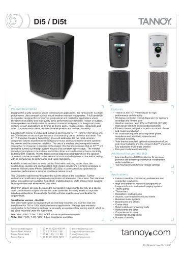Tannoy Di5/Di5t loudspeaker datasheet - Canford Audio