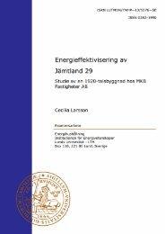 Energieffektivisering av Jämtland 29 - Energihushållning - Lunds ...