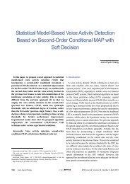 Statistical Model-Based Voice Activity Detection ... - ETRI Journal