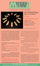 June / July / August 2005 - Mentoring Artists for Women's Art
