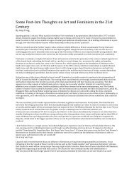 Some Post‐Ism Thoughts on Art and Feminism in the 21st Century