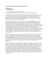 Critical Writing – March/April/ May 2012 Newsletter No More Bins by ...