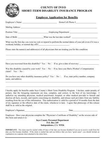 Short Term Disability Claim Form - City of Jacksonville