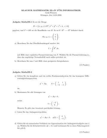 KLAUSUR MATHEMATIK III+IV F¨UR INFORMATIKER Gräf/Wieners ...