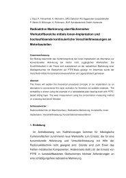 Radioaktive Markierung oberflächennaher ... - Zyklotron AG