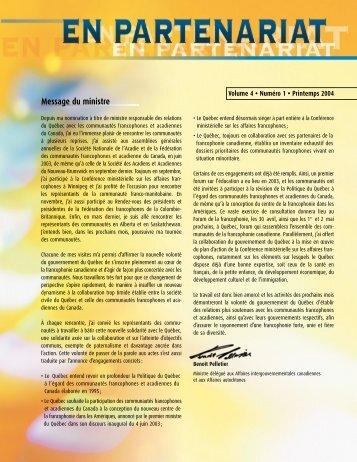 En partenariat, vol.4, no 1, Printemps 2004 - Secrétariat aux affaires ...