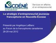 La stratégie d'entrepreneuriat jeunesse francophone en Nouvelle ...