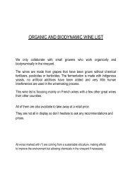 ORGANIC AND BIODYNAMIC WINE LIST - Carnaby