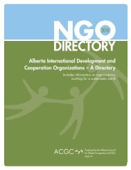 NGO DIrectory - Alberta Council for Global Cooperation