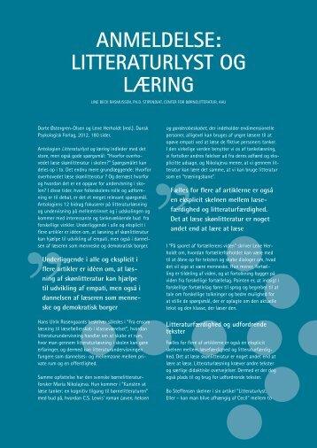 ANMELDELSE: LITTERATURLyST OG LæRING - Viden om Læsning