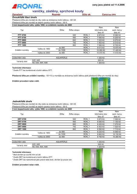 Ceník sprchových koutů Ronal, PDF - Novabyt