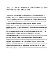 table of contents, journal of concrete and ... - Eudoxus Press