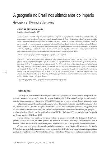 A geografia no Brasil nos últimos anos do Império - Museu de ...
