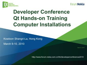 Developer Conference Qt  Hands-on Training Computer Installations