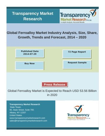 Global Ferroalloy Market  Industry Analysis, Size, Share, Growth, Trends and Forecast, 2014 – 2020