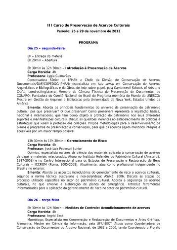 I Curso de Preservação de Acervos Culturais - Museu de ...