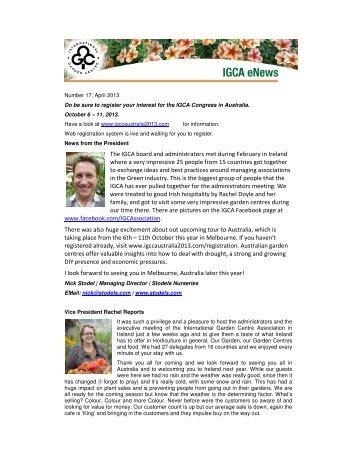 April 2013 - International Garden Centre Association