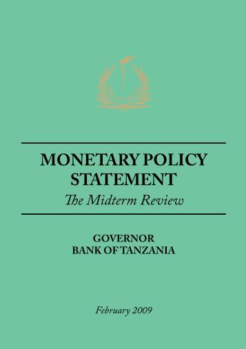 MONETARY POLICY STATEMENT - Bank of Tanzania