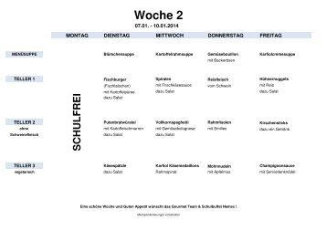 Menüplan - Schulbuffet Nemec
