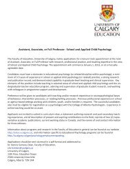 School and Applied Child Psychology - Faculty of Education