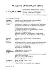 ACADEMIC CURRICULUM VITAE Kaela Jubas, PhD - Faculty of ...
