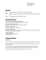 Curriculum Vitae - Faculty of Education - University of Calgary