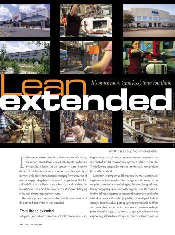 lean extended - Institute of Industrial Engineers