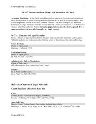 In-Text Citations of Legal Materials Reference Citations of Legal ...