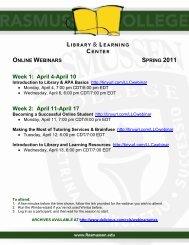 Week 1: April 4-April 10 Week 2: April 11-April 17 - your Student Portal!
