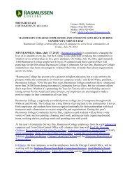 PRESS RELEASE FOR IMMEDIATE RELEASE RASMUSSEN ...