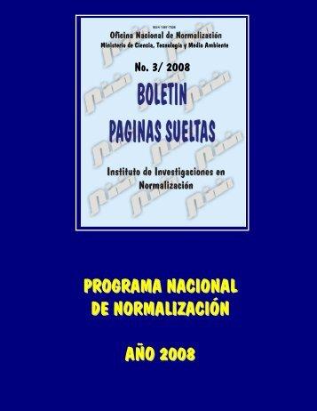 programa nacional de normalización año 2008 - Boletín Páginas ...