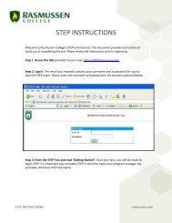 Rasmussen College Online S.T.E.P Placement Test Instructions