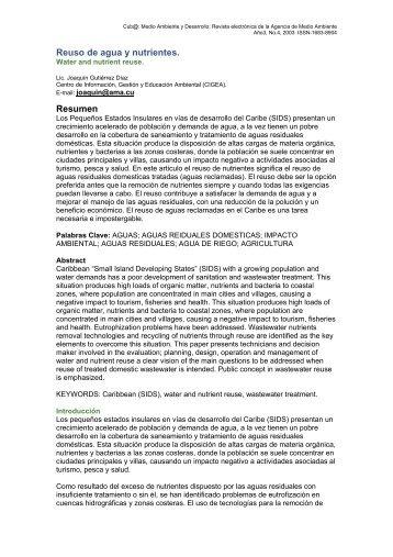 Reuso de agua y nutrientes - Cub@: Medio Ambiente y Desarrollo