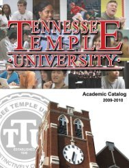 2009-2010 Catalog - Tennessee Temple University