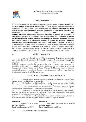 Pregão Presencial N.º 10/2013 - EDITAL DE LICITAÇÃO - Câmara ...