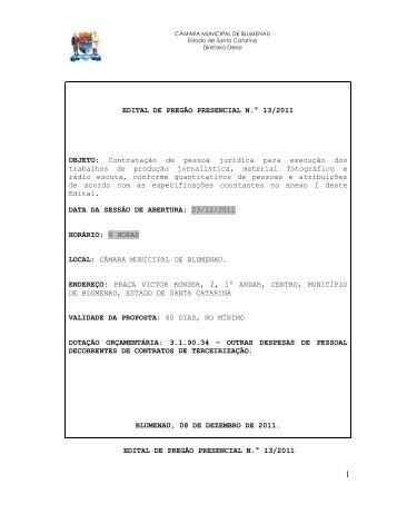 Pregão Presencial 013 2011 Contratação de pessoa jurídica para ...