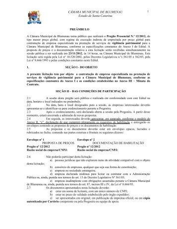 Pregão Presencial 122012 contratação de empresa especializada ...