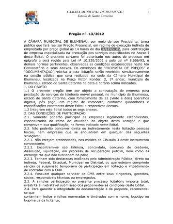 Pregão Presencial 132012 contratação de empresa especializada ...
