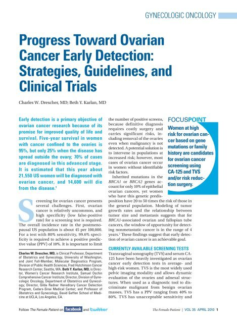 Progress toward Ovarian Cancer early Detection - The Journal of