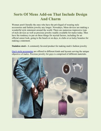 Sorts Of Mens Add-on That Include Design And Charm