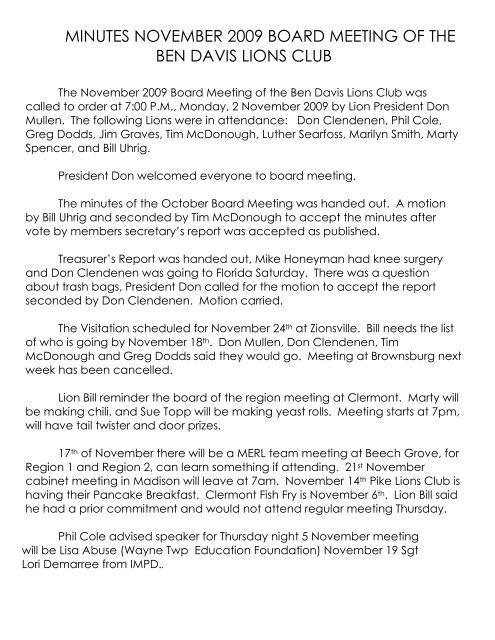 November 2009 - Ben Davis Lions Club