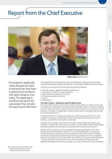 The organisational structure of tesco plc annual report