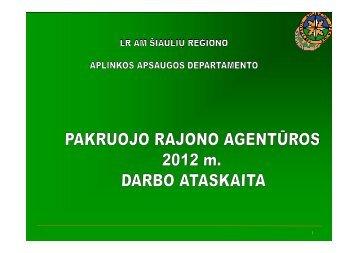 Pakruojo rajono agentūros 2012 m. veiklos ataskaita
