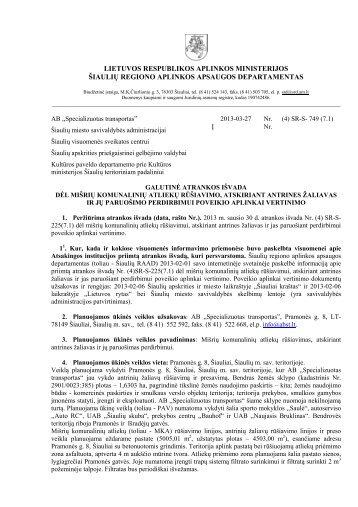 GALUTINĖ ATRANKOS IŠVADA Nr. (4) SR-S-749 - RAAD