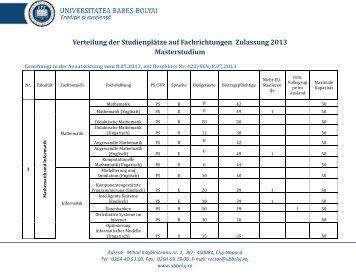 forma de învăţământ master - Admitere UBB