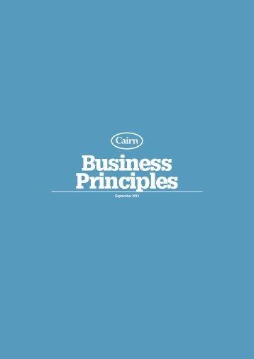 Cairn Business Principles - Cairn Energy PLC