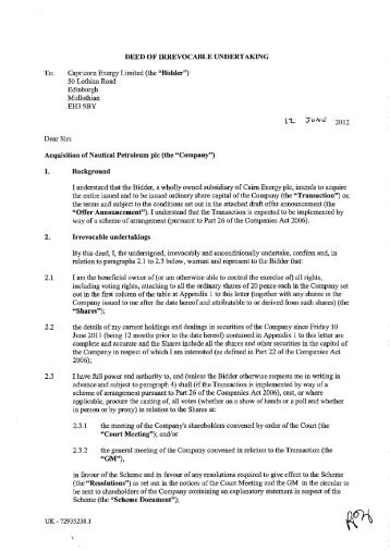 Format of letter of undertaking for issue of demand download directors irrevocable undertakings cairn energy plc thecheapjerseys Image collections