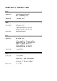 Holiday dates for Session 2013/2014 - Banchory Academy Online