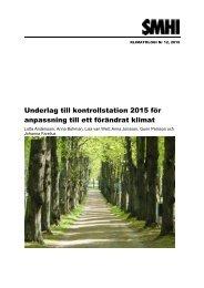 Underlag till kontrollstation 2015 för anpassning till ett förändrat klimat